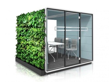 Modern office furniture integrated with plants